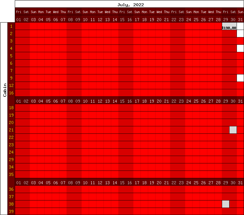 Happy Camp Hideaway August, 2016 availability chart