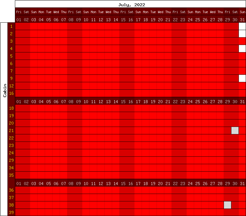 Happy Camp Hideaway June, 2021 availability chart